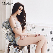 Munllure Elegant Embroidery Autumn Winter Thin Comfortable Triangle Cup Underwear Sexy Solid Women Bra Set 2019 New