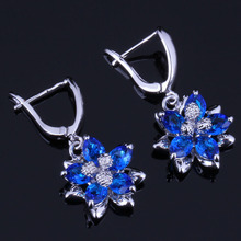 Exquisite Flower Blue Cubic Zirconia 925 Sterling Silver Drop Dangle Earrings For Women V0757