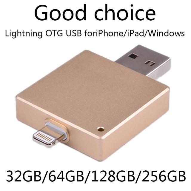 Surtidor de la fábrica otg unidad flash usb 100% 64 gb 128 gb para iphone 6/5/ipad/ipod, 16 gb 32 gb 64 gb Pendriver Regalo Pen Drive 2 TB 1 TB
