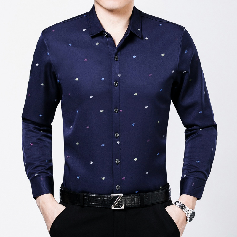 New Arrival 2018 Spring Men Small Floral Smart Business Shirts Male Classic Casual Long sleeve Top shirts Vestidos men 1629