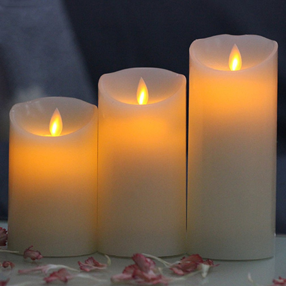 3 pcs/set Electronic Flickering Flameless LED Candle Flicker Dancing Battery Wax Tea Candles Safe Lamp Mood Light Remote Control pzcd my 22 flickering flameless led paraffin wax candle for party decoration beige 3 x aaa