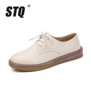 Image 2 - STQ 2020 Autumn Women Oxfords Shoes Flats Shoes Women PU Leather Lace Up Flat Heel Rubber Boat Shoes Round Toe Moccasins QSG932