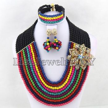 African Jewelry Sets Nigerian Beads Wedding Jewelry  Bridal Party Necklace Bridesmaid Gift  HD5146