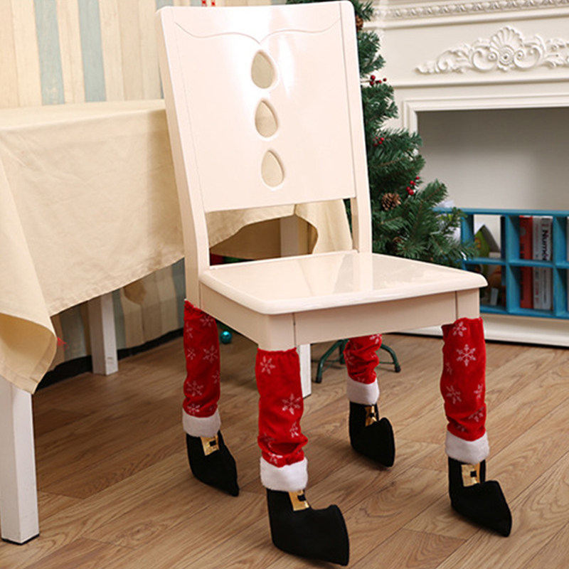 2017 New 2 Styles Christmas Chair Cover Santa Stockings Decoration Feet Shoes Party New Year Gift Christmas Decoration Supplies