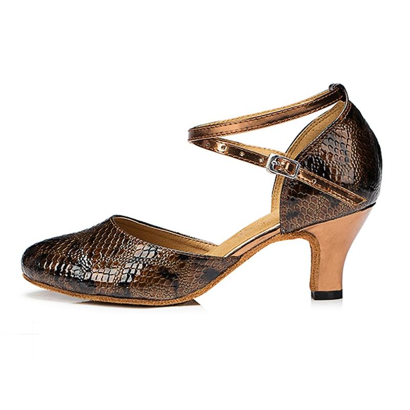 Chaussures de danse salle de bal Latin Tango femmes motif serpent PU 6 cm talon