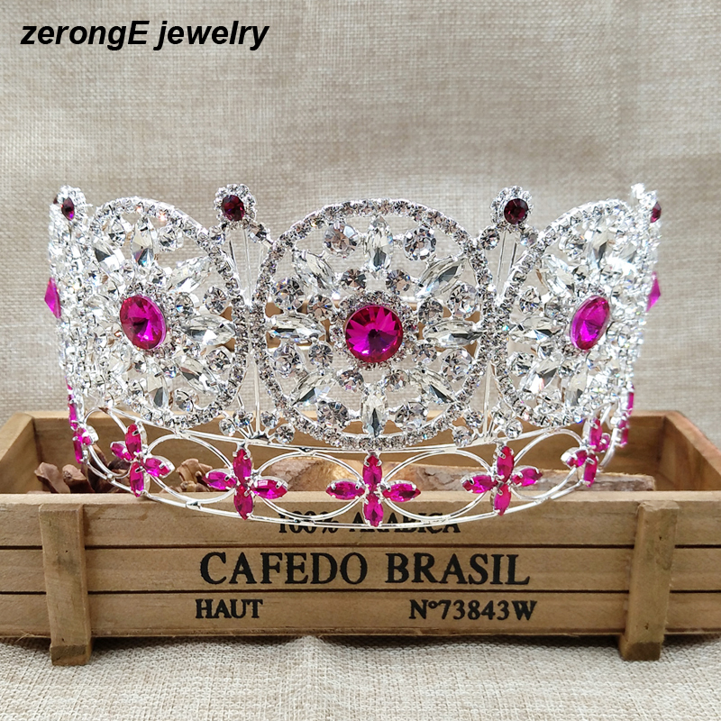 Luxury Large high quality full circle crown pageant miss world rhinestone round full tiara crown pink color crown for womenLuxury Large high quality full circle crown pageant miss world rhinestone round full tiara crown pink color crown for women