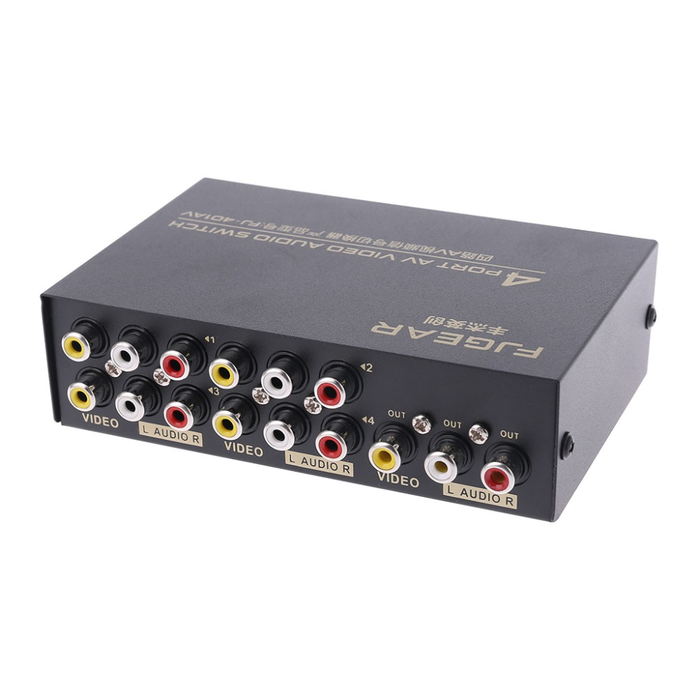 4 Port Input 1 Output Video Audio AV RCA Switch Switcher Selector Box High Quality C26