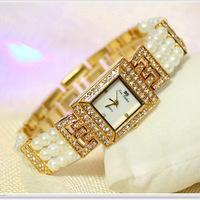 2017 Arrival Bling Pearl Watch Women Luxury Square Austrian Crystals Watch Silivery Shinning Diomand Rhinestone Bangle