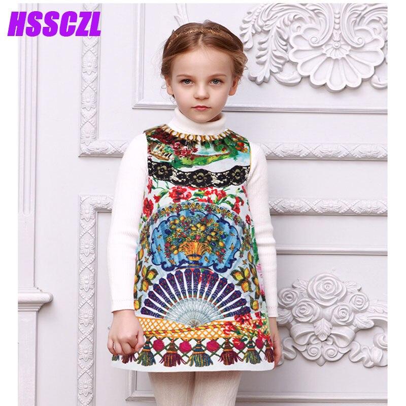 HSSCZL Girls Dresses 2017 new Cotton Floral Children 's Princess girl Dress High - end Spring Autumn sleeveless kids clothes