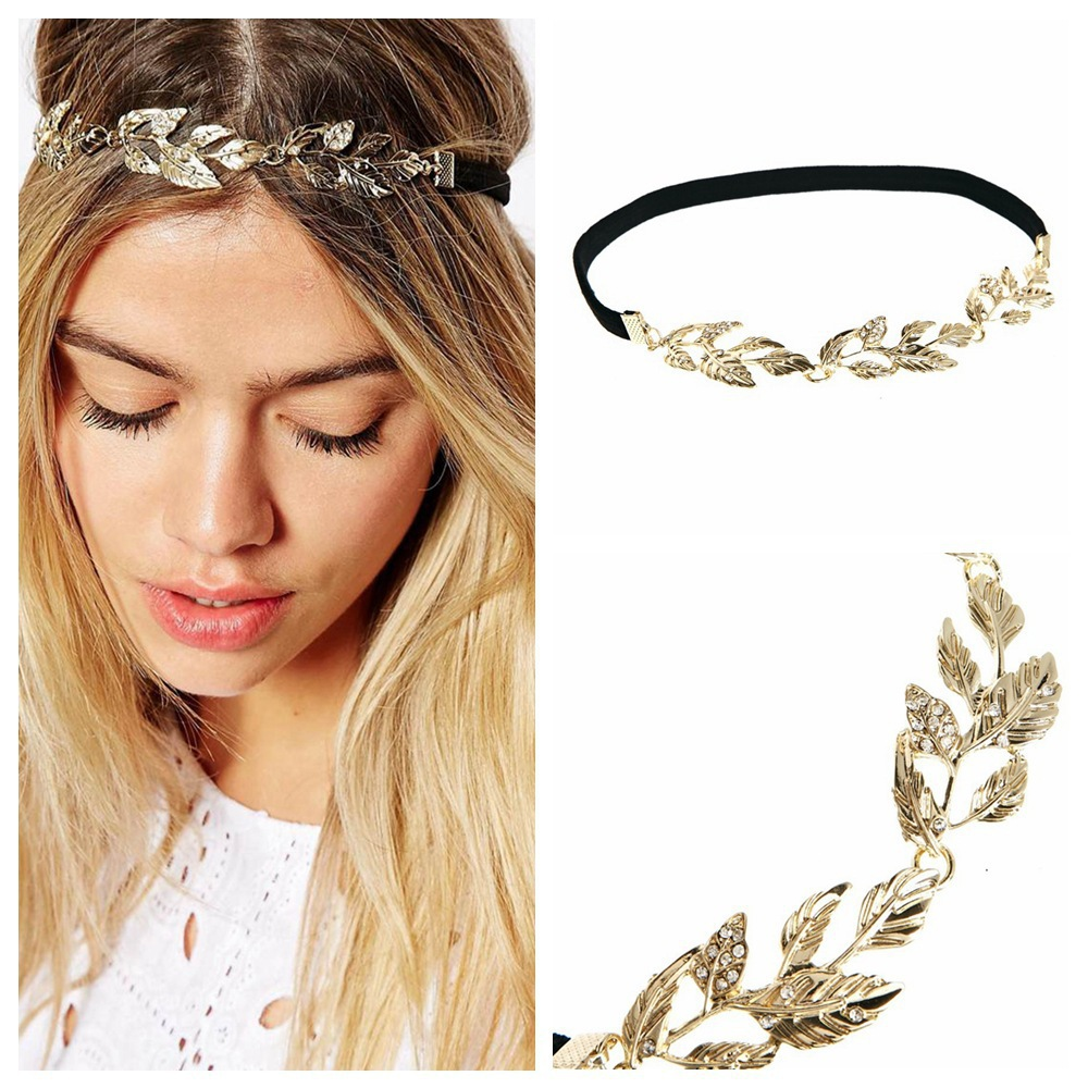 2017 Gold Leaf Headband For Women Metal Leaves Hair Band