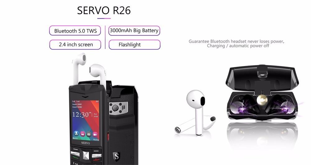 706e9d7ee34 SERVO R25 Teléfono móvil de 2.8 pulgadas con Bluetooth 5.0 TWS Auriculares  inalámbricos 6000 mAh Banco de energía GSM WCDMA Teléfonos móviles