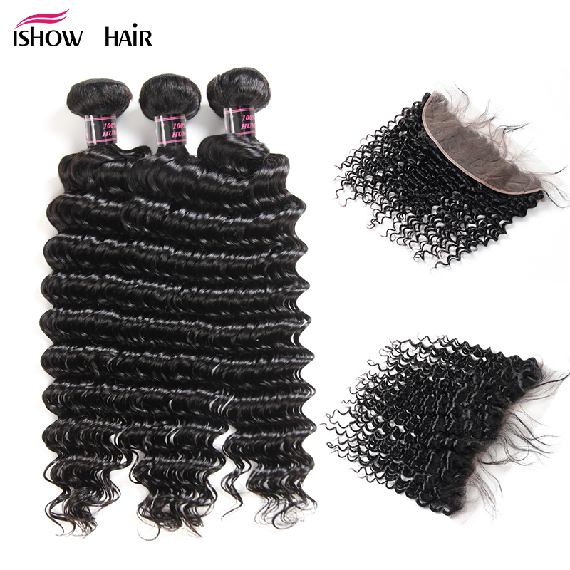 Ishow Indian Human Hair Bundles With Frontal Non Remy Deep Curly 3 Bundles With Frontal With