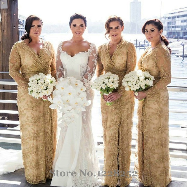 Fashion Gold Lace Bridesmaid Dress With Full Sleeves Illusion V Neck