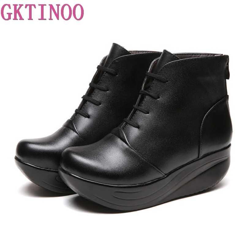96e0dd283088 GKTINOO/женские зимние ботинки на платформе из натуральной кожи, зимняя  женская ...