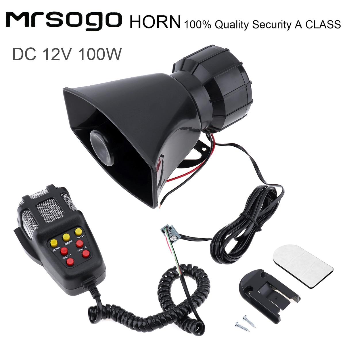 100W 7 Tones Loud Sound Car Vehicle Electronic Warning Siren Motorcycle Alarm Firemen Ambulance Loudspeaker with MIC