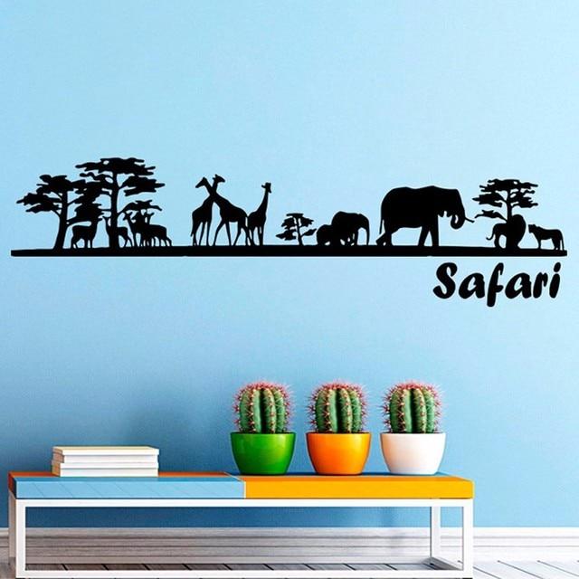 Safari Wall Decal Vinyl Sticker Decals Art Home Decor Mural African Safari  Tree Animals Giraffe Elephant