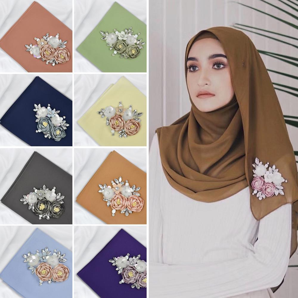 Fashion Women Chiffon Long Scarf Flower Maxi Scarves Muslim Hijab Head Wrap Headscarf Islamic Stoles Shawl Wrap Arab 37 Colors
