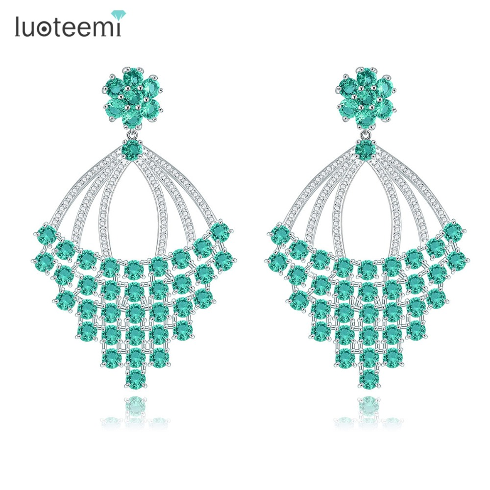 congratulations gifts promotion shop for promotional luoteemi new delicate jewelry big geometric drop earrings luxurious bohemia brincos white gold plated cz crystal bijoux gifts