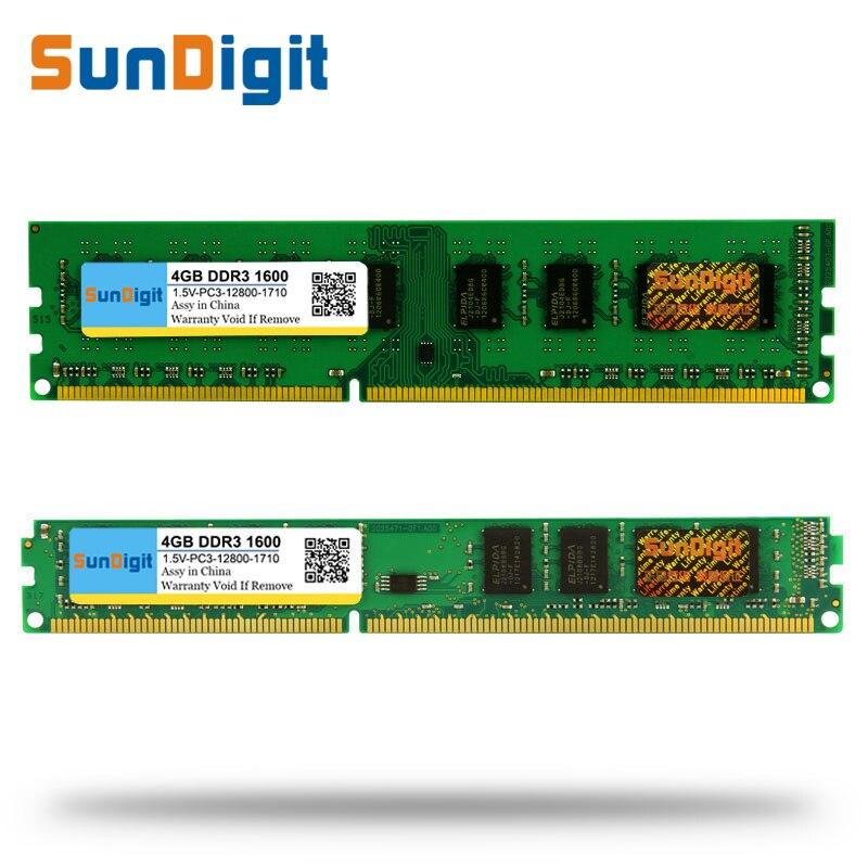 Gros SunDigit DDR3 1600/PC3 12800 2 GB 4 GB 8 GB 16 GB PC de bureau RAM Mémoire DIMM DDR 3 1333 MHz/1066 MHz PC3-12800 10600