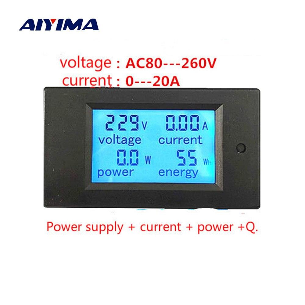 Wattímetro Digital de AIYIMA 20A 4500 W AC Multifunções LED Digital Voltímetro Amperímetro Medidor de Painel de Energia Monitor De Energia De Energia Para DIY
