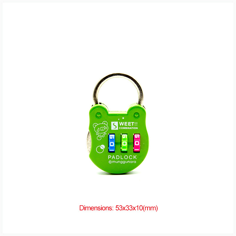 Travel Accessories Luggage Bags Color Green Color Wheel Colorful Bag Backpack Code Lock Diary Carton Package Password Lock Outdoor Small Locks Circular Frog Styling Cartoon Padlock Travel Accessories Luggage Bags