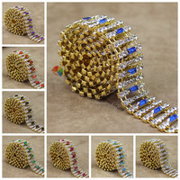 1yard 20mm 8 Coloured Baguettes Bling Czech Crystal Chain Rhinestone Costume Trim Gold Silver Set Horse