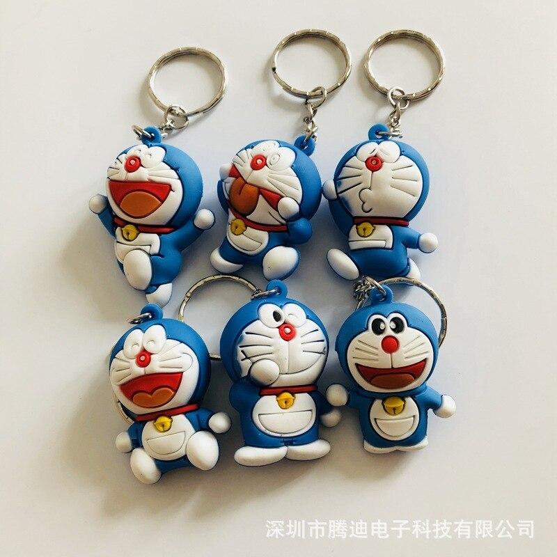 Doraemon 3d Stereoscopic Cartoon PVC Keychain Cute Anime Key Chain Silicona Para Llaves Bag Charm Keyring Jewelry Kid Toys Party