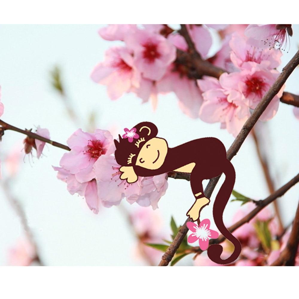 Peach Blossom Flowers Monkey Beautiful Spring View Diy Wall