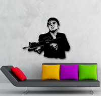 Free Shipping Scarface Film Gangster Man Weapons Wall Stickers Removable Vinyl Decal Home Decoration