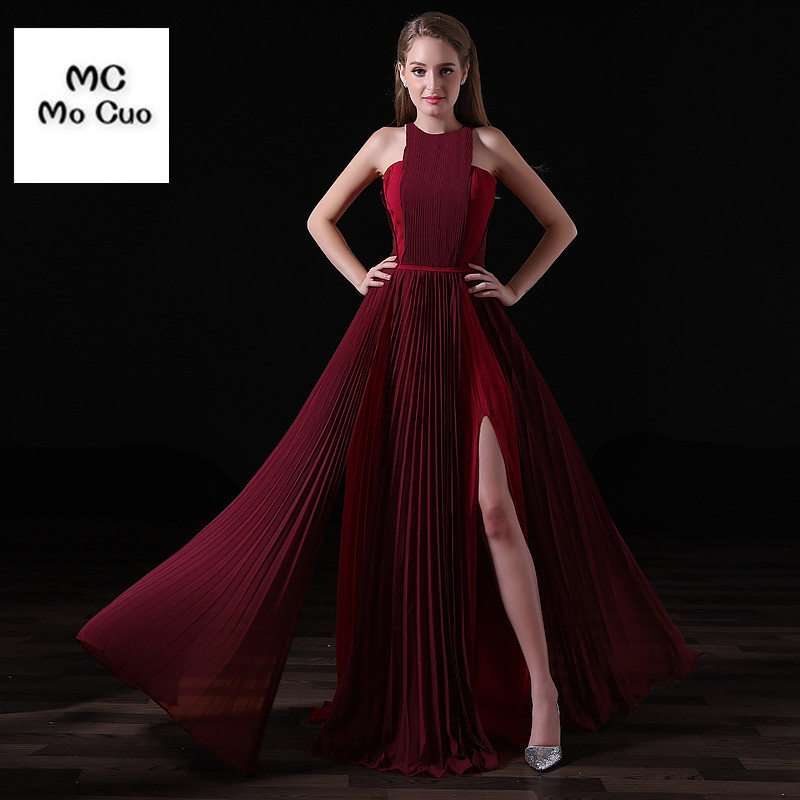 2017 Burgundy Bridesmaid Dress with Pleat Draped Side Slit Wedding Party Dress Off Shoulder Zipper Prom Bridesmaid Dresses