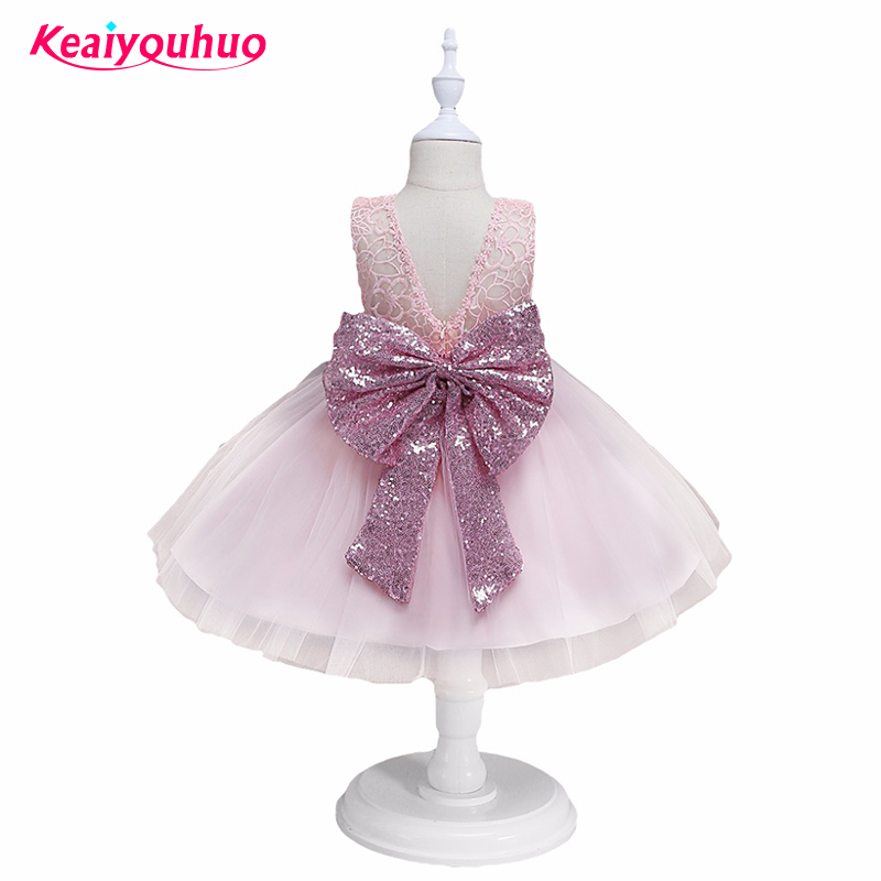 2018 Fashion Sequin Flower Girl Dress Summer Party Birthday Wedding <font><b>Princess</b></font> <font><b>Toddler</b></font> Kids Dresses Children Clothing for 0-5 year image