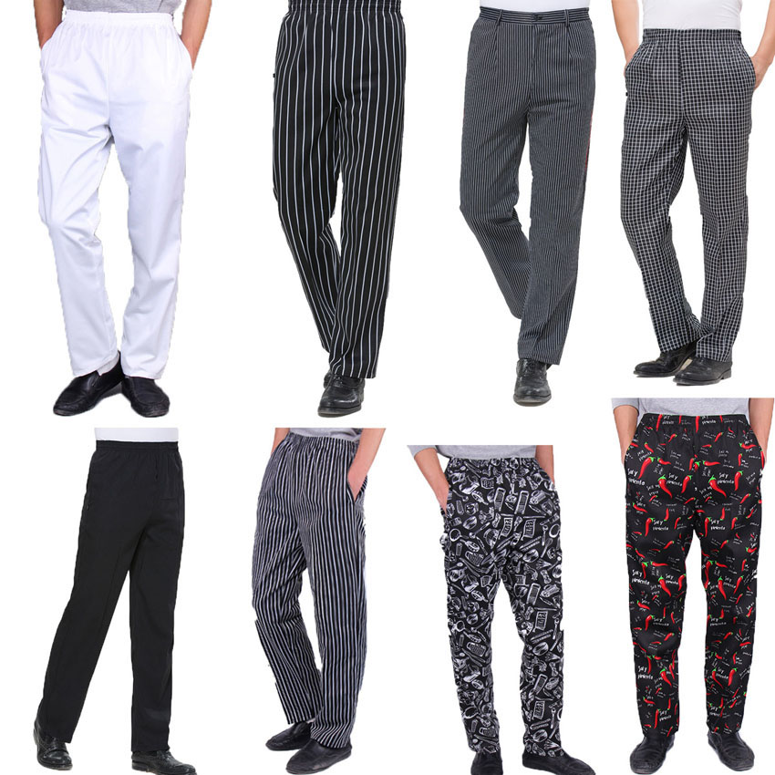 White Pants Hotel Restaurant Bakery Catering Elastic Trousers Zebra Pants High Quality Chef Uniforms Kitchen Cooker Work Clothes