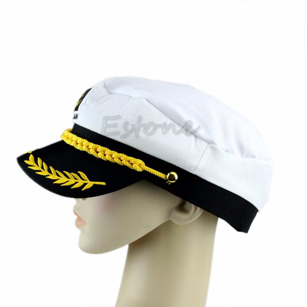 7a8a99a047c New Adult Fancy Dress Costume Peaked Skipper Sailor Navy Captain Boating Hat  Cap-in Military Hats from Apparel Accessories on Aliexpress.com