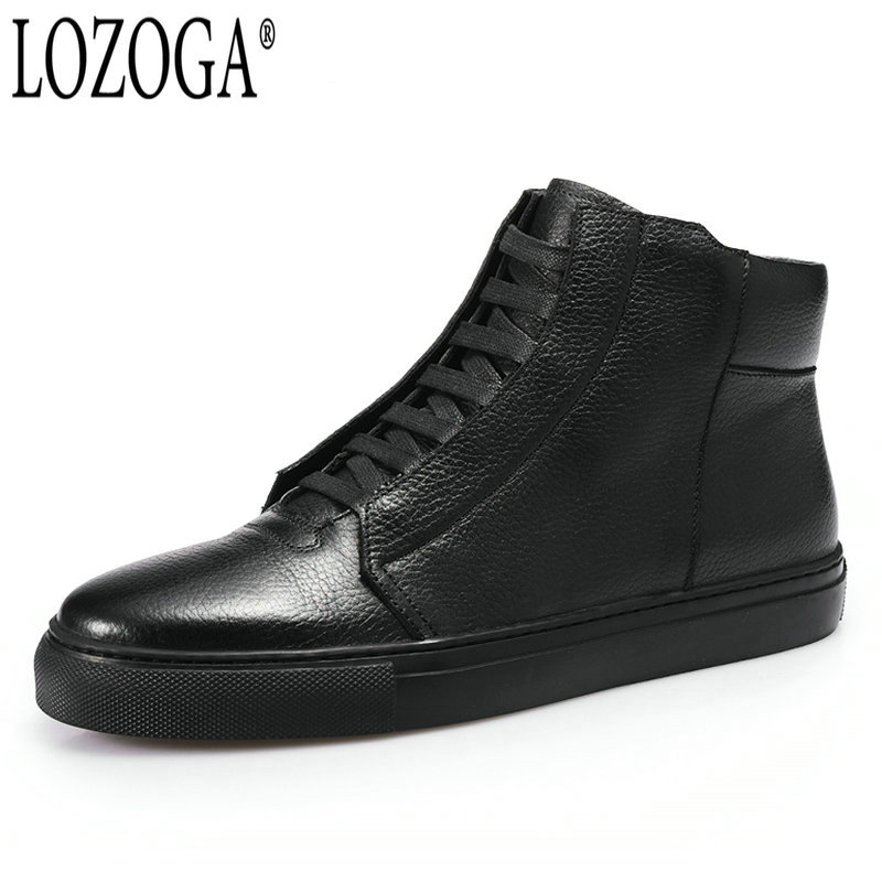LOZOGA Black Shoes Men Boots 100% Genuine Leather Autumn/Winter Fashion Brand Boots Ankle Handmade Italy Style Zipper Boots Mens [krusdan]british style men autumn winter boots solid casual genuine leather retro boots falts brand red wine male ankle boot