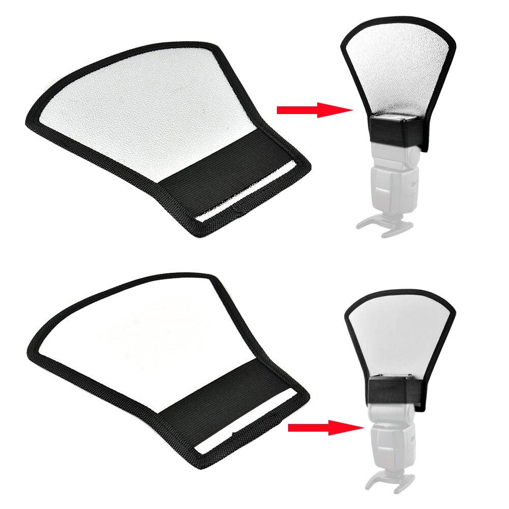 Universal Camera Flash Diffuser Softbox Silver / White Reflector for All Canon Nikon Pentax Yongnuo Triopo Meike Godox Speedlite