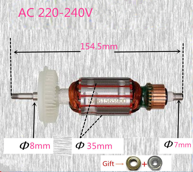 AC220-240V Rotor Motor Armature for Bosch GWS600 GWS660 GWS670 GFF22A EHS6-115 GEX150 Angle Grinder Accessories Parts Power ac 220 240v armature motor rotor replacement for bosch gbm500re gsb450re psb400re gsb13re gbm400re armature parts engine