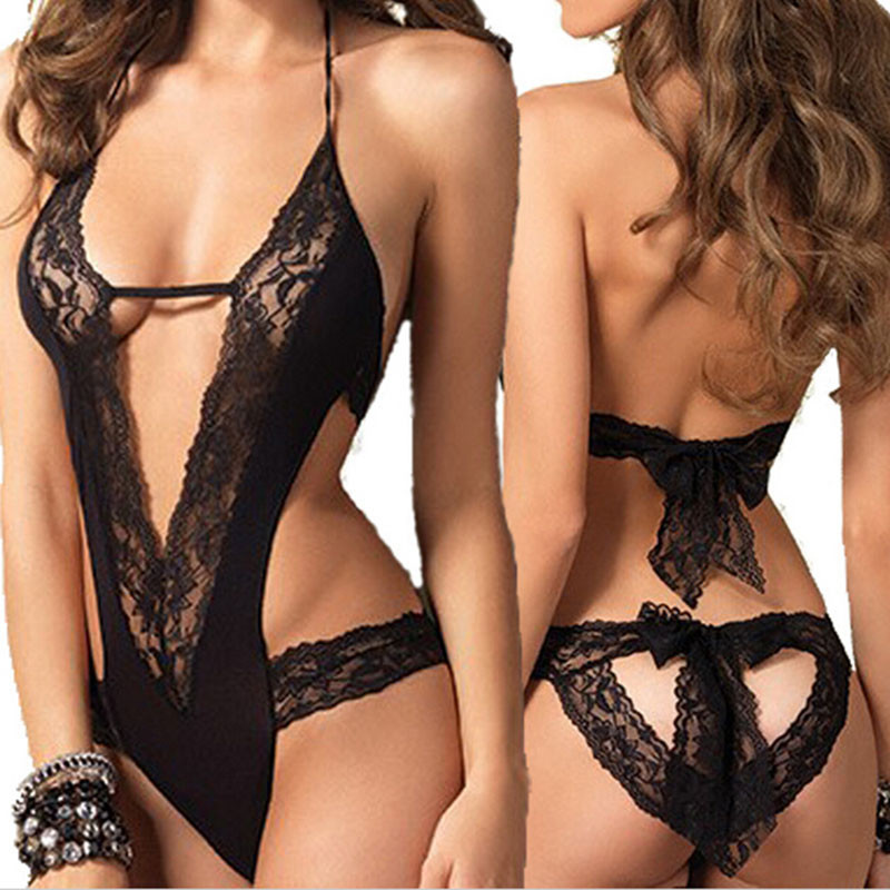 Black Coveralls Erotic Sleepwear  Women Lace Dress Toy Sexy  Bodystocking Body Suit For Adult Games