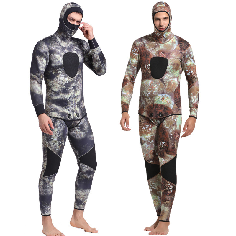 3MM Diving Suit Siamese Texture Swimsuit Two-piece Thickening Male Jellyfish Suit Snorkeling Hooded Fishing Suit3MM Diving Suit Siamese Texture Swimsuit Two-piece Thickening Male Jellyfish Suit Snorkeling Hooded Fishing Suit