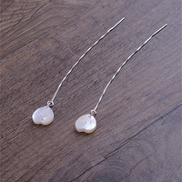 Korea 925 silver ear shell heart shaped line over a flower fairy long pendant earrings simple temperament female tassel