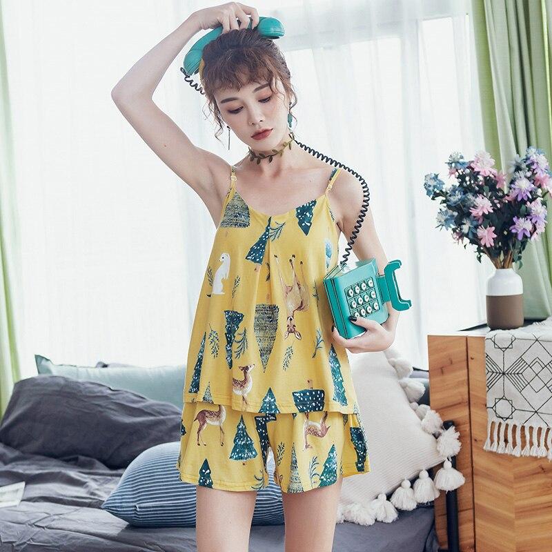 BZEL 2019 Summer Sling Ladies Pajamas Sleeveless Shorts Sleepwear V-Neck Cotton Nightgowns Cartoon Plus Size Pijamas Nightgowns