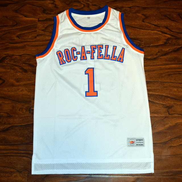 d4d910e5103 MM MASMIG Jay Z S.Carter #1 Roc-a-fella Basketball Jersey Stitched White