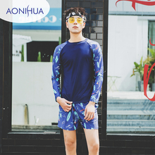 Aonihua Mens Two Piece Swimsuit Floral Printed Swiming Suit Long Sleeve Top Beach Swimwear M-XXXL