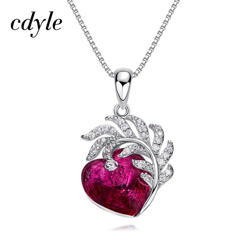 Cdyle naszyjnik damski z wisiorkiem ozdobiony kryształem naszyjnik w kształcie serca biżuteria collier ras du cou