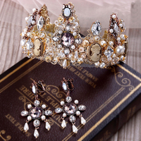 1 pieces Bridal Gold Crown Earring hair Accessories Baroque Old Wedding Hair headband Vintage Crystal Tiaras Women Party Jewelry