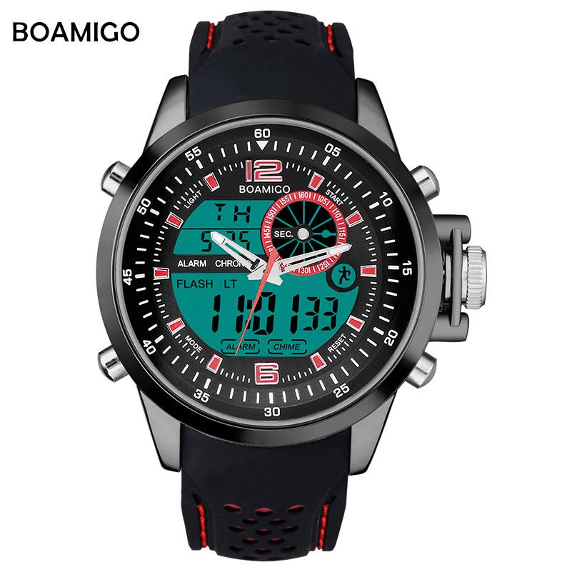 Prix pour Hommes montres de sport double affichage analogique numérique LED montres BOAMIGO marque Électronique montres à quartz en caoutchouc bande 30 M étanche