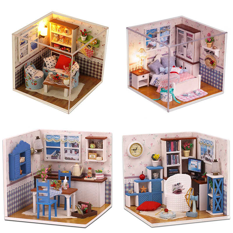 Wooden Assemble Diy Doll House Furniture With Lights Miniature Dollhouse Room Design Creative Mini Houses Girl Boy Birthday Gift