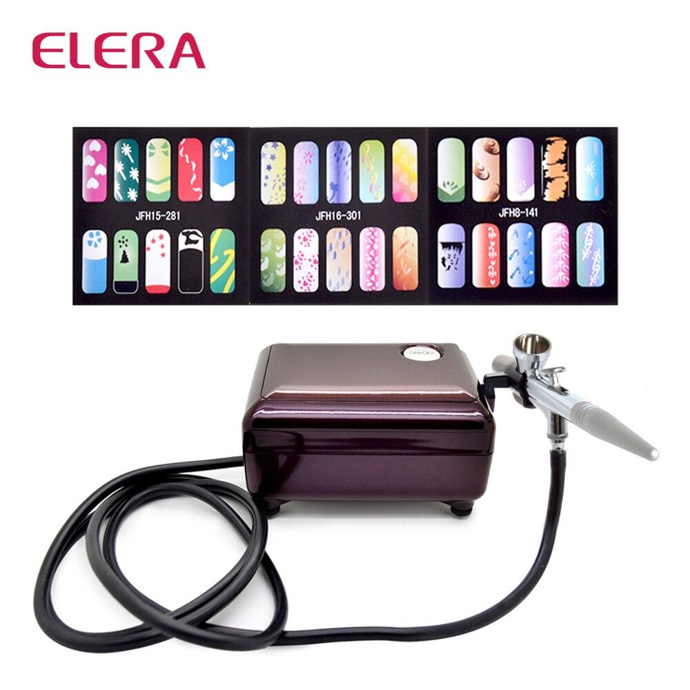 ELERA Новая мода Аэрограф компрессор комплект макияж пистолет для тела ногтей краски с воздушным компрессором, лошадь + 3 трафареты в подарок