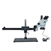 Stereo Microscope Simul focal 7X 45X Trinocular Stereo Microscopes for Mobile Phone Repair with Big Table Stand