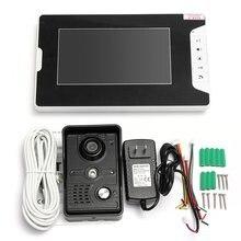 """Con conexión de cable 7 """"LCD Video Puerta Del Timbre Del Teléfono del Sistema de Intercomunicación IR Cámara 1-Monitor Altavoz de Control de Acceso"""