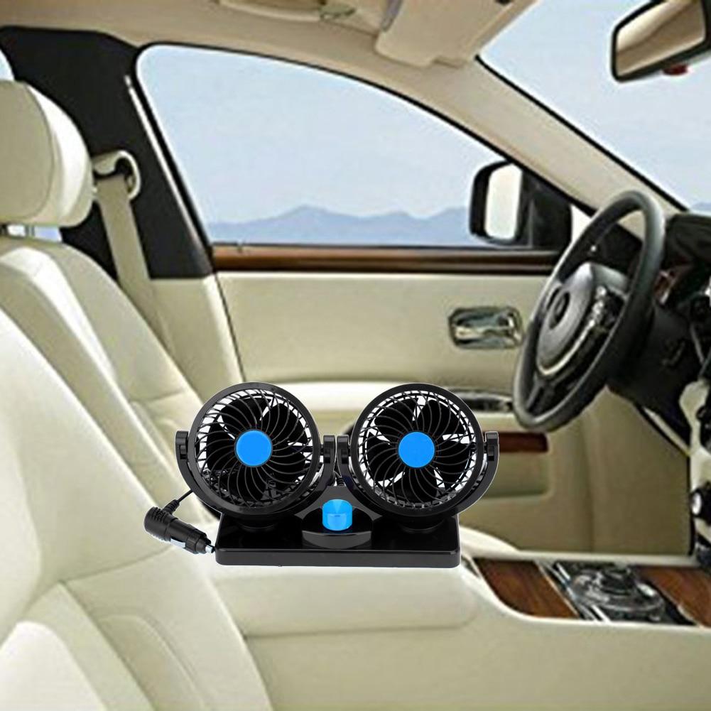 12V Auto Car Fan 360 Degree Rotatable Powerful ABS Fans Adjustment Dual Head Car Auto Cooling Air Fan Car Accessor Car-styling
